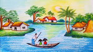 how to draw riverside village scenery step by step easy draw you
