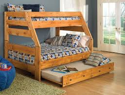 wooden bunk beds twin over full with trundle