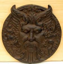 image is loading large rustic 11 034 cast iron garden god  on cast iron outdoor wall art with large rustic 11 cast iron garden god plaque wall art in outdoor