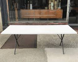mid century modern george nelson for herman miller white laminate x legs dining table for
