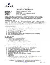 System Administrator Job Description Resume Linux Administration Sample Resume Unix Systems Administrator 3