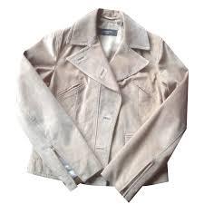 weekend max mara biker jackets biker jackets leather beige ref 20660