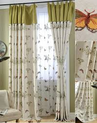 beige and lime green erfly botanical living room curtains