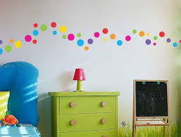 beautiful polka dot wall decals for kids rooms with green drawer and small red table lamp ideas