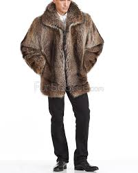 mid length natural rac fur coat for men