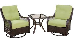 hanover orleans3pcsw orleans 3 piece patio set with 2 swivel rocking chairs and a glass top end table wicker frame uv protected and stain resistant