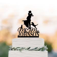 Custom Wedding Cake Topper 2 Dogs Bride And Groom Silhouette