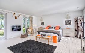 devon orange and white chevron rug with light wood dressers chests bedroom contemporary antlers gray color