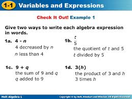 example 1 give two ways to write each algebra expression in words
