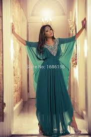 New Arrival Green Chiffon Fancy Turkish Dress Floor Length Beaded