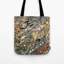 jackson pollock interpretation acrylics on canvas splash drip action painting tote bag