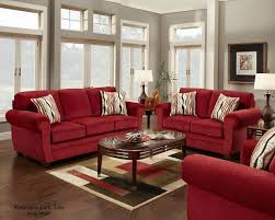 living room design red sofa and