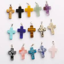 whole 50pcs lot high quality natural stone cross pendants multicolor diy jewelry making necklace for