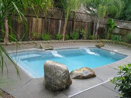 Minimalist Backyard Design with Small Private Inground Swimming Pool, Gray  Concrete Tile Floor, Gray