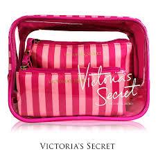 msia authentic victoria s secret 3pcs cosmetic pouch set pink stripe