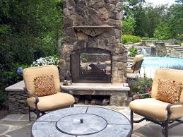 divide your outdoor space into two smaller cozier sections with a double sided fireplace
