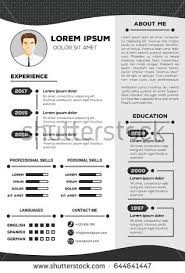 Resume and cv vector template with nice minimalist design