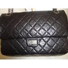 chanel 2 55. chanel sac 2.55 en veau vieilli noir matelassé shoulder bag - photo a43055-b 2 55