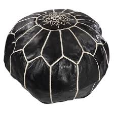 Black And White Pouf Black Leather Pouf Moroccan Dreams Handmade Beni Ourain Rugs