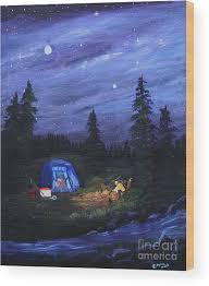 Starry Night Campers Delight Wood Print by Myrna Walsh