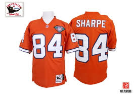 Ness Men's Patch Mitchell Throwback Home Orange And Authentic Sale Broncos 75th Denver Jersey 84 Sharpe For Shannon Nfl