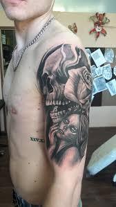Tetování Lebka A žena Tetování Tattoo