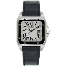 cartier men s santos black leather strap watch shipping cartier men s santos black leather strap watch
