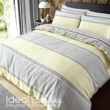 home banded yellow and grey stripe duvet quilt bedding cover and pillowcase bedding set previous next