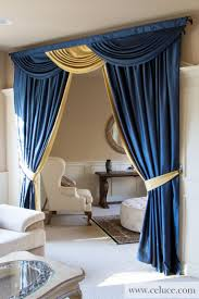 Blue and Gold - Classic Overlapping Swag Valance Curtains www.celuce.com