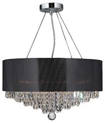 8 light chrome crystal ball prism chandelier black acrylic drum shade