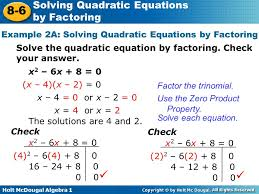 example 2a solving quadratic equations by factoring