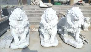 outdoor hand carving white marble lion statue on pictures statues for china