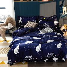 deep blue flannel duvet cover sets twin queen king size cartoon fleece bedding sets for s winter warm quilt cover bed linen fl bedding blue bedding