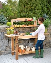 Potting Bench Potting Bench Cedar Potting Table With Soil Sink And Shelves