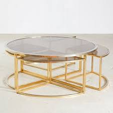 golden framed round glass coffee table
