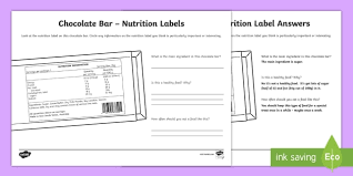 chocolate bar nutrition label worksheet activity sheet australia yr 3 and 4 design technology