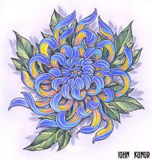 фото эскизы хризантема в стиле япония татуировки на затылке