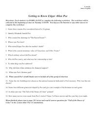 Edgar allen poe backgr info worksheet