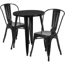 24 round black metal indoor outdoor table set with 2 cafe chairs ch