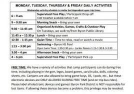 Summer Camp Daily Schedule Template Free Business Plan Template For Summer Camp 13 Camp Schedule