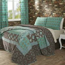 vhc marci turquoise brown cotton 3pc quilt bedspread bedding set king or queen