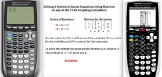 solving systems of linear equations using matrices on a ti 84