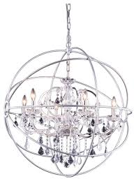 wonderful nickel orb chandelier foucaults orb crystal chandelier 6 lights medium size