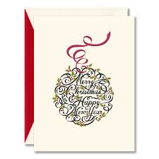 Engraved Calligraphic Ornament Christmas Cards