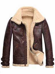 ericdress faux shearling thicken warm men s pu coat
