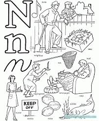 coloring pages with the letter n s