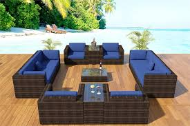 victoria modular wicker sectional sofa shown with azure navy blue cushions