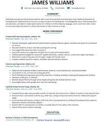 Briliant Lesson Plan For Preschool Teachers Preschool Teacher Resume