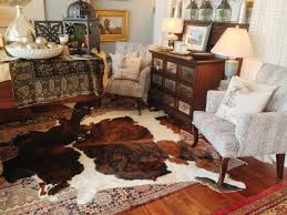 area rugs decorating with cowhide rug large living room decor idea