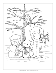Small Picture Free Winter Scene Coloring Page Snowman Polar Bear Little Girl